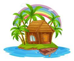 Uma cabana em uma bela ilha vetor