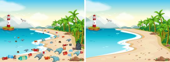 Comparação de praia suja e limpa vetor