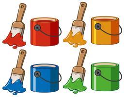 Quatro cores em baldes e pincéis vetor