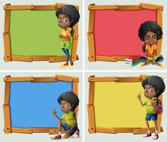 Design de moldura com garota afro-americana vetor