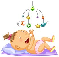 Menina bebê, olhar, brinquedo móvel vetor