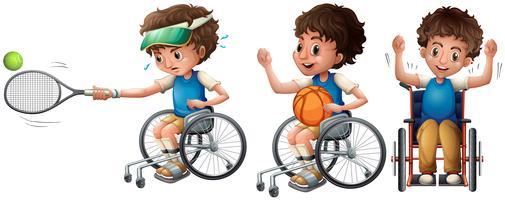 Menino, em, cadeira rodas, jogando tênis, e, basquetebol vetor
