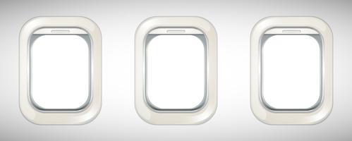 Três janelas de avião com tela aberta vetor