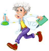 Um cientista correndo apressadamente vetor