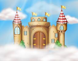Um castelo de conto de fadas no céu vetor