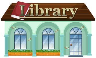 Uma biblioteca em fundo branco vetor