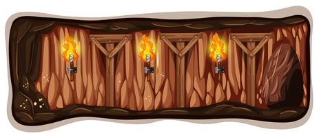 Um modelo de caverna de mina escura vetor