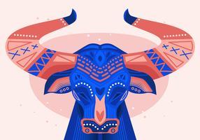 Bumba Meu Boi Bulls pintada ilustração vetorial plana vetor