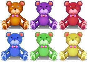 Ursos de peluche coloridos vetor