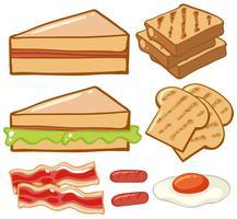 Diferentes tipos de café da manhã vetor