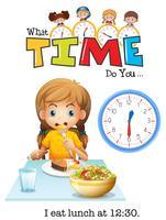 Uma menina almoçando às 12:30 vetor