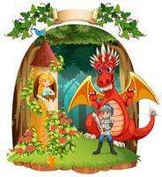 Cena com cavaleiro salvando princesa do dragão vetor