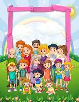 Design de fronteira com membros da família no parque vetor