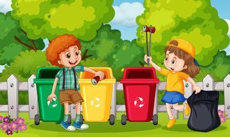 Crianças coletando lixo no jardim vetor