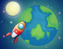 Nave espacial voando sobre o mundo vetor