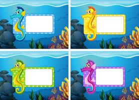 Design de rótulo com tema subaquático vetor