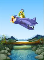 Um, tartaruga, montando, avião vetor