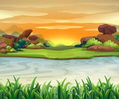 Cena da natureza com fluxos do rio vetor
