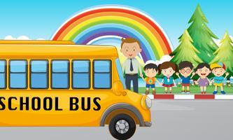 Crianças e ônibus escolar na estrada vetor