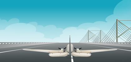 Um avião decolando pista vetor