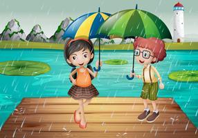 Crianças sendo na chuva vetor