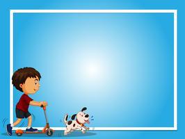 Modelo de plano de fundo azul com menino e cachorro de estimação