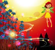 Fada fofa voando no jardim com o céu vermelho no fundo