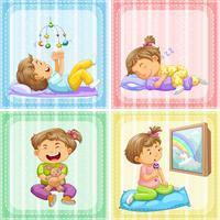 Criança em quatro ações diferentes vetor