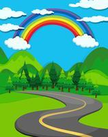 Cena da natureza com a estrada para o campo vetor