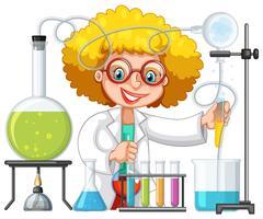 Um estudante na aula de laboratório de ciências vetor