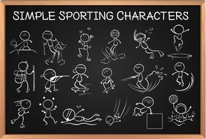 Personagens esportivas simples no quadro-negro