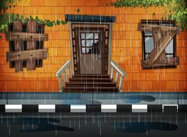 Prédio antigo e dia chuvoso vetor