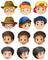 Personagens diferentes para meninos com um grande sorriso