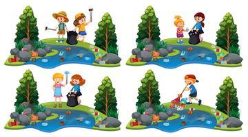 Um conjunto de crianças limpando o rio vetor