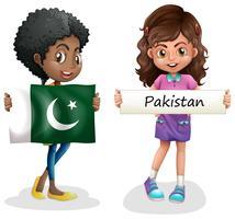 Duas meninas, com, bandeira, de, paquistão