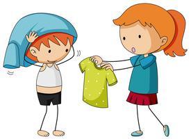 Irmã ajudando irmão se vestindo vetor