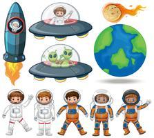 Espaço, astronauta e coleção de OVNIs vetor