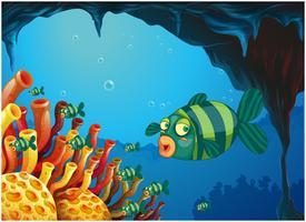Uma escola de peixes listrados sob o mar