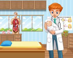 Doutor, e, bebê, em, hospitalar vetor
