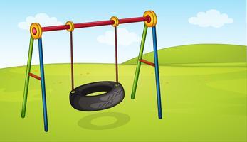 Um balanço de roda no parque vetor