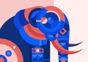 Ilustração de vetor geométrico abstrato de elefante pintado