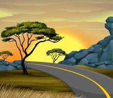 Cena do sol com estrada vazia vetor
