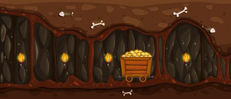 Uma mina subterrânea e carrinho de ouro