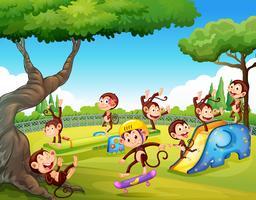 Macaco brincando no playground vetor
