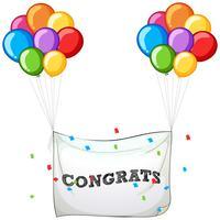 Balões coloridos com banner para palavra parabéns vetor