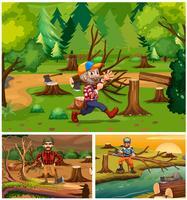 Macacos de madeira trabalhando na floresta