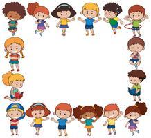 Modelo de fronteira com crianças felizes vetor