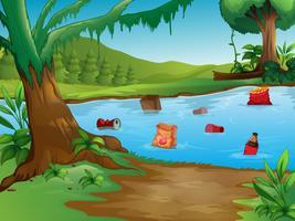 Uma poluição da água na natureza paisagem vetor