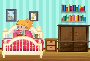 Menina, livro leitura, ligado, dela, cama