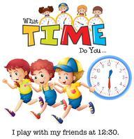 As crianças brincam às 13:30 vetor